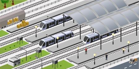 estacion de tren: vista isométrica de la estación de ciudad