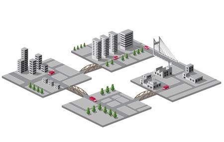Set di icone di isometrico sulla città