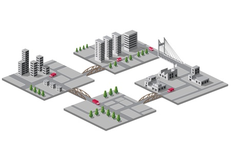 Set of icons of isometric on the city