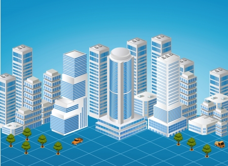 Isometric image of a fragment of the city on a colored background Illustration