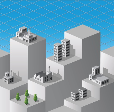 isometric fantasy on the theme of urban industrial Stock Vector - 13691612