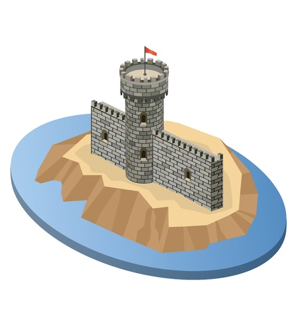 Isometric projection of a medieval castle on an island Vector