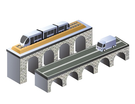 urban area: Isometric projection of the urban area of the road on the bridge