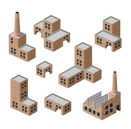immagini isometriche di edifici industriali in mattoni