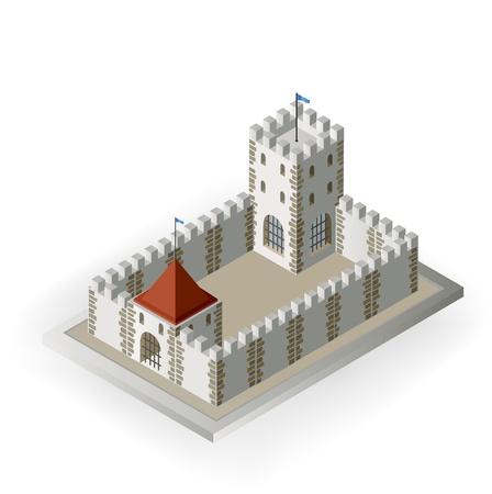 Vue isométrique d'un château médiéval sur un fond blanc