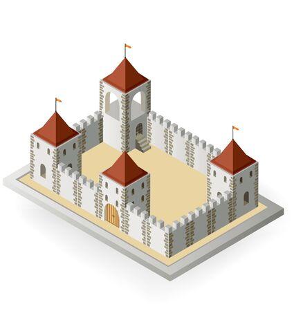 Vue isométrique d'un château médiéval sur un fond blanc Vecteurs
