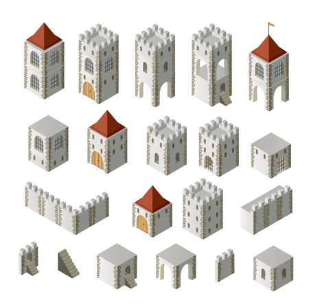 castle tower: A set of isometric medieval buildings on a white background