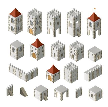 Een set van isometrische middeleeuwse gebouwen op een witte achtergrond