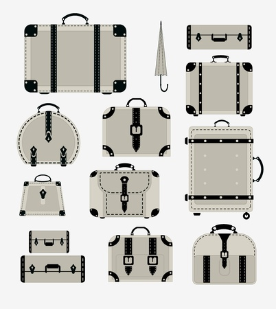 A set of images of traffic trunks and bags Vector