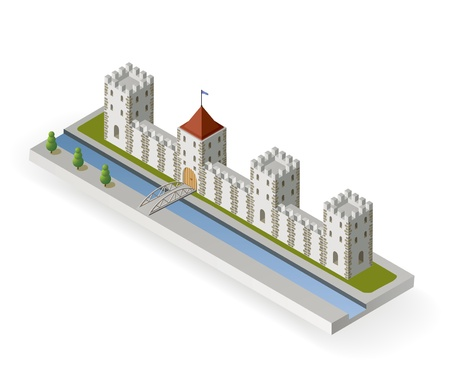 citadel: Isometric projection of the of a medieval castle with a moat and gate