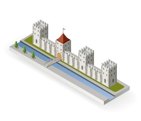 Projection isométrique de la d'un château médiéval avec un fossé et la barrière