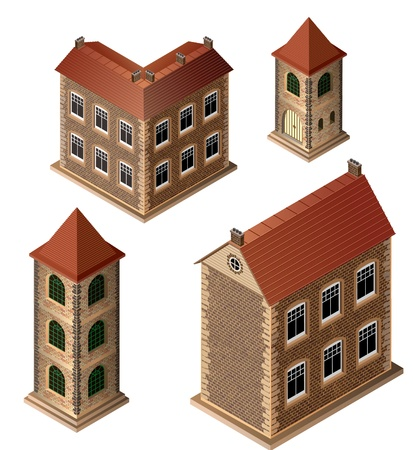 A set of isometric medieval buildings on a white background Vector