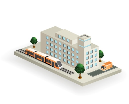 building activity: isometric part of the landscape to transport Illustration