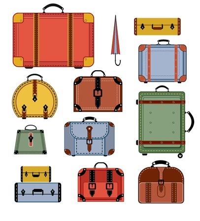 Bolsos de viaje en varios colores sobre un fondo blanco