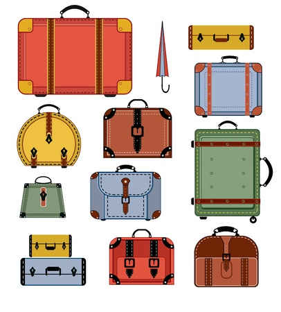 Travel bags in various colors on a white background Illustration