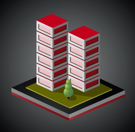 Isometric view of houses in red on a black background Vector