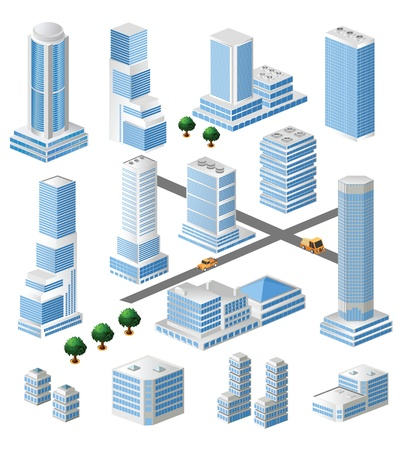 residential district: Set of tall buildings in shades of blue on a white background Illustration