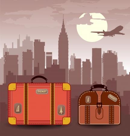 silhouette della città con le valigie per il viaggio Vettoriali