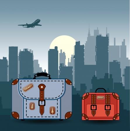 travelling: silhouette of the city with suitcases for travel Illustration
