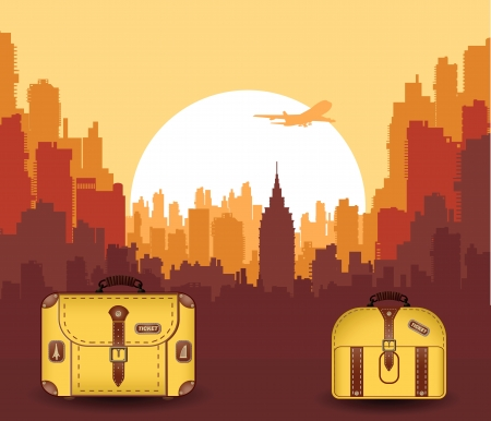 Vector silhouette of the city with suitcases for travel Vector