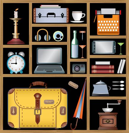A set of elements of the household that may be needed in the journey Illustration