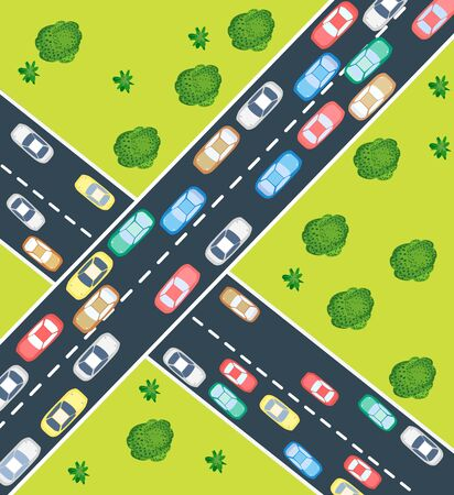Aerial view of highway traffic with automobile and machinery Stock Vector - 14992973