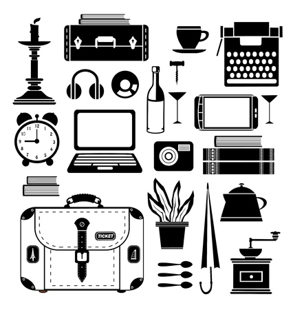 A set of  elements of the household that may be needed in the journey Stock Vector - 14988957