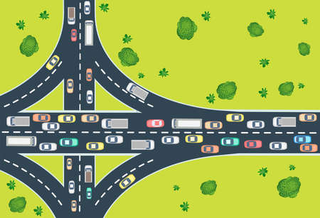 Aerial view of highway traffic with automobile and machinery