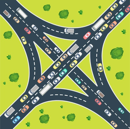 Aerial view of highway traffic with automobile and machinery Vector