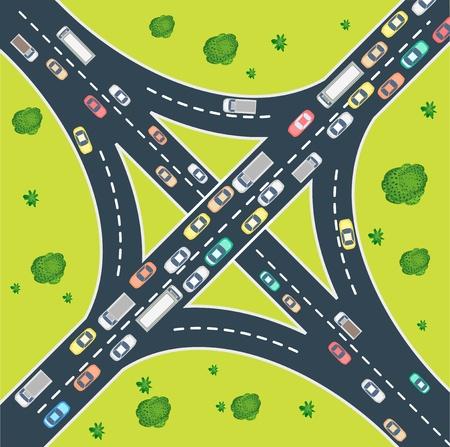 Veduta aerea del traffico autostradale, con automobili e macchinari