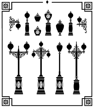 A set of silhouettes of vintage street lamps Vector