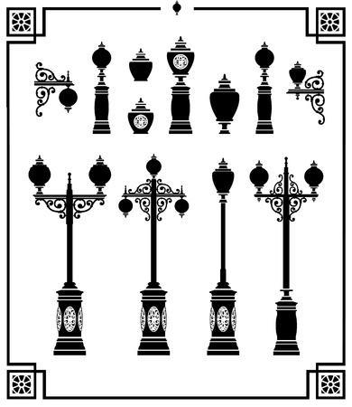 Een set van silhouetten van vintage straatlantaarns