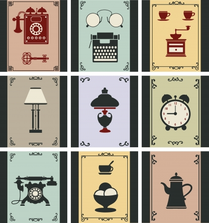 A set of isolated vintage objects Vector