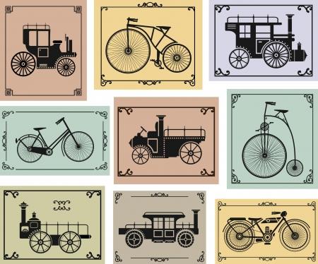 set di vecchie biciclette e auto su uno sfondo colorato Vettoriali