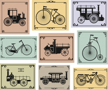set of old bikes and cars on a colorful background Vector