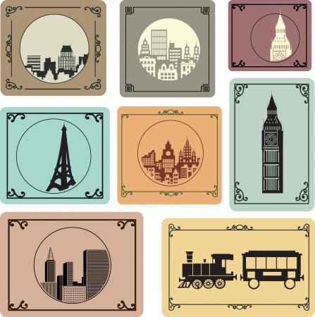 set of silhouettes of cities in retro style Vector