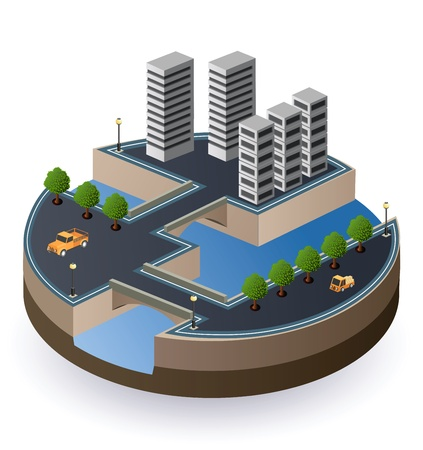 isometric view of the city  Vector