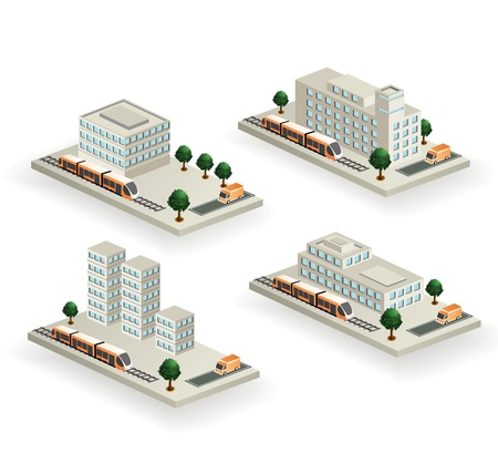 The set of buildings with urban transport on a white background