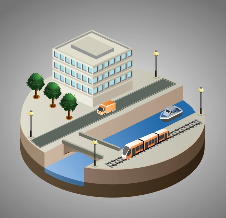 isometric view of the city to the quay  Vector