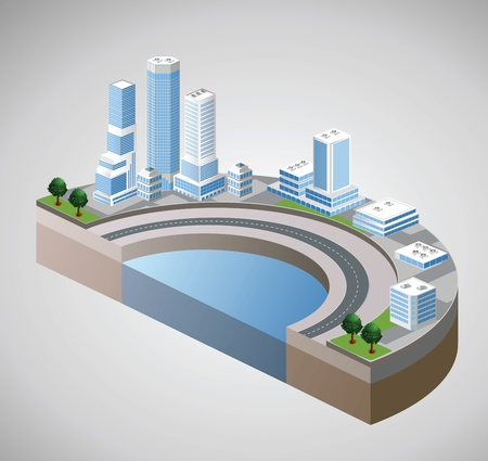 urban life: Vector isometric view of the harbor and skyscrapers Illustration