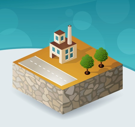 isometric portion of the landscape with factories Vector