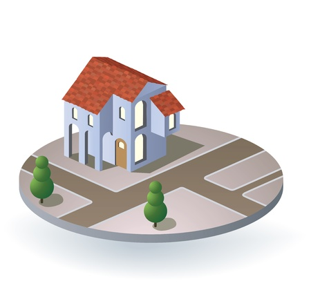 Perspective view of the village house Stock Vector - 14988955