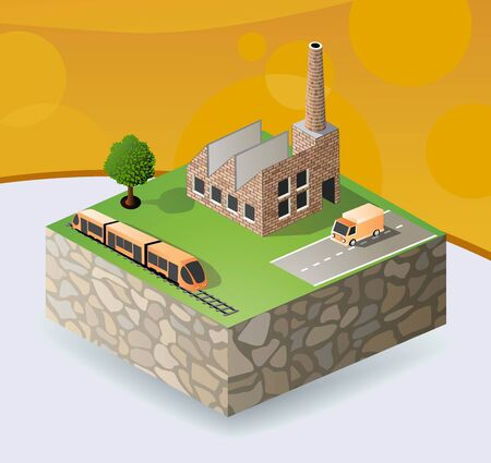 isometric portion of the landscape with factories Stock Vector - 14992988