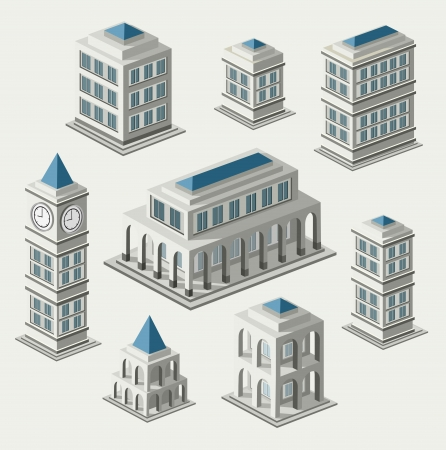 A set of urban and antique buildings in the isometric Vector