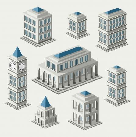 Un insieme di edifici urbani e antica nel isometrica Vettoriali