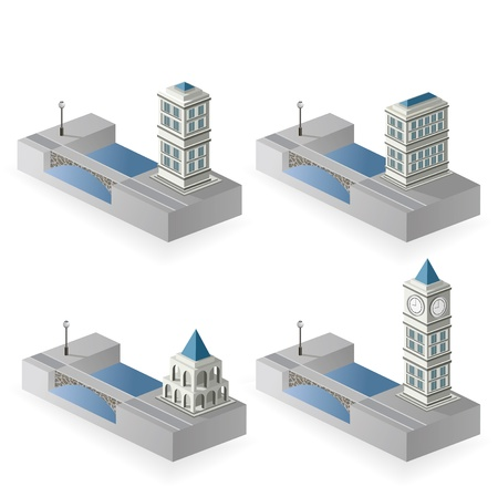 quay: The set of vector isometric houses to the river