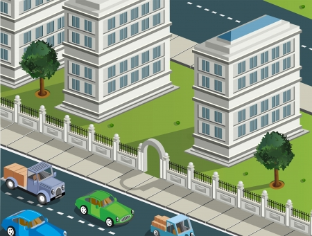 Isometric projection of the vector of the city with  cars Vector