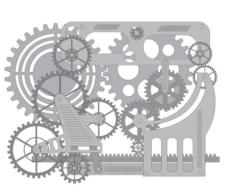 Elementi di meccanismo su sfondo nero