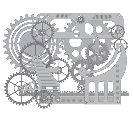 Elements of mechanism on a black background
