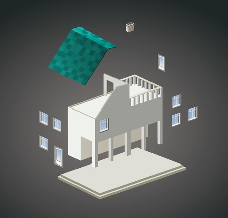Vector isometric view of a country house Stock Vector - 17147926